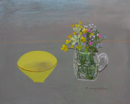 yellow bowl and meadow flowers