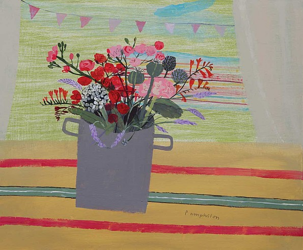 flowers inside the tent