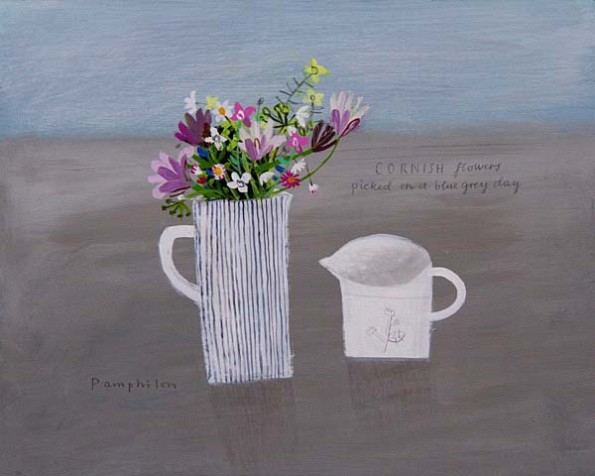 cornish flowers picked on a blue grey day